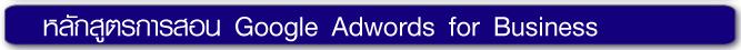 หลักสูตรการสอน หลักสูตร Google Adwords for Business