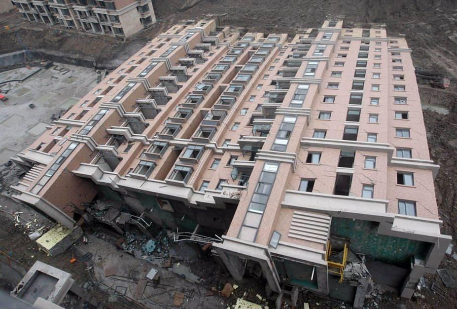 ภาพตึกถล่มในประเทศจีน