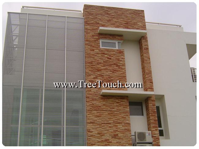 กระเบื้องเคนไซลาวาสโตน พัฒนาการซอย 15  Project : Home office Modern Style  Site : Pattanakarn 15 , พัฒนาการ ซอย 15  Product : Kenzai Lava Stone  Color : Brown  Area : Wall, 120 Sq.m