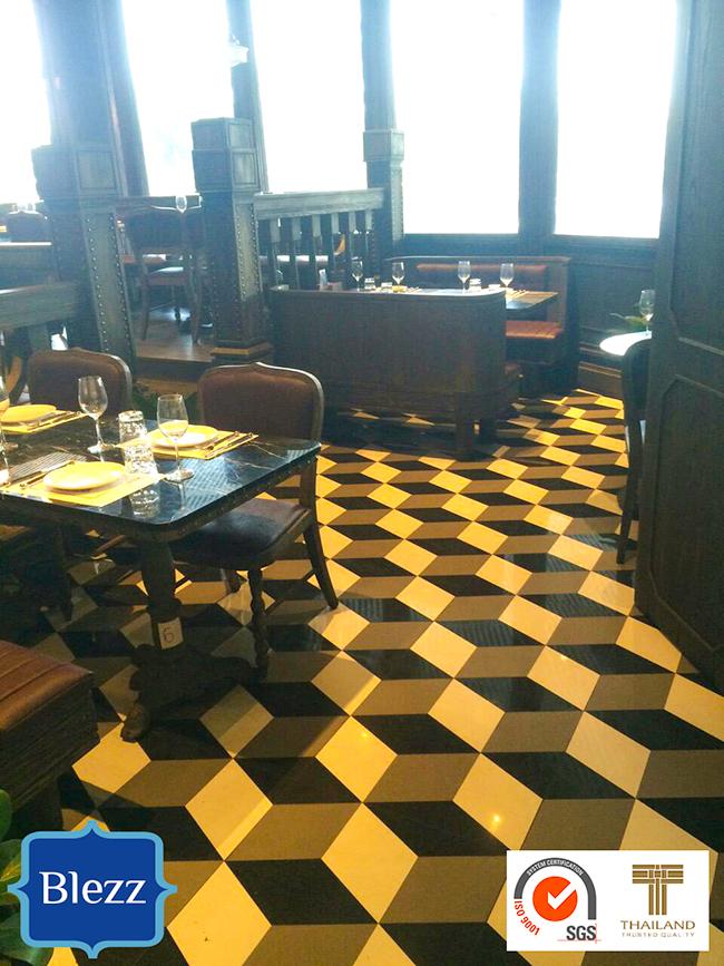 ผลงานกระเบื้องลายโบราณ ร้านอาหาร Central Eastville Antique Tile