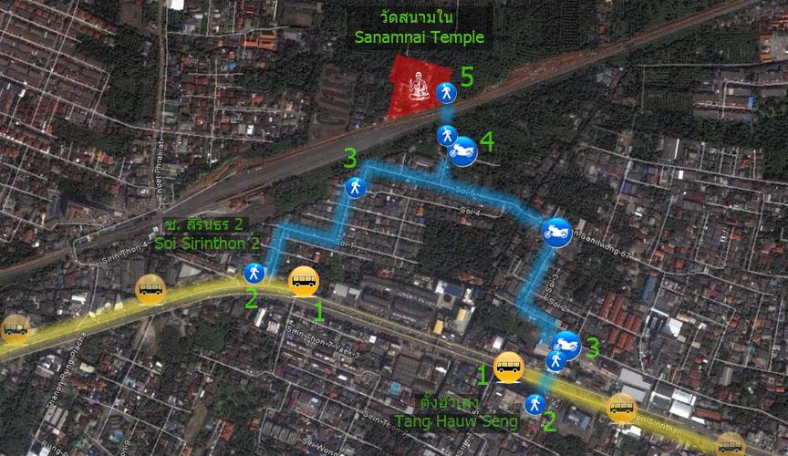 เส้นทางการเดินทางมาวัดสนามในโดยรถประจำทาง