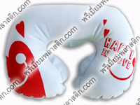 Pillow-หมอนรองคอกำมะหยี่สีเทาอ่อน สกรีน HAPPY LOVE สีแดง