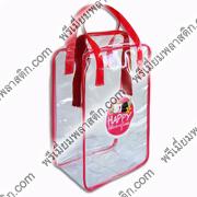 กระเป๋ากิ๊ฟเซ้ทพลาสติกพีวีซีใสกุ๊นใสีสีแดงพลาสติก ศกรีนโลโก้