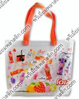 กระเป๋าพลาสติกทรงช้อปปิ้งสายทอ พีพี สีส้ม