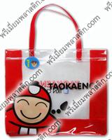 กระเป๋าพลาสติกใสข้างและสายกระเป๋าเป็นพลาสติกใสสีแดง