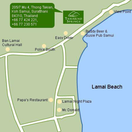 แผ่นที่ ทามาไรด์ สปริงส์ สปา รีสอร์ท เกาะสมุย จ.สุราษฏร์ธานี Tamarind Springs Spa Resort, Koh Samui, Suratthani